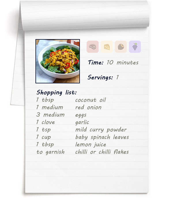 Recipe - Curry Spiced Scrambled Eggs & Onions