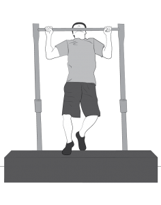 Exercise: Pullup level 1 to 3 - a man doing pullups keeping one or two feet on a bench