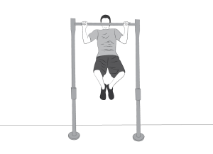 Exercise: Pullup - a man doing pullups hanging from a bar