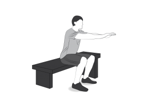 Exercise: Squat level 3 - a man doing squats, touching a bench on every squat