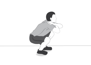 Exercise: Squat - a man doing squats standing free on the floor