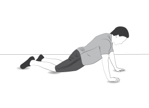 Exercise: Plank level 1 - a man doing a plank resting on hands and knees