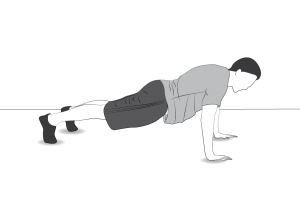Exercise: Plank level 2 - a man doing planks on hands and feet (or knees and elbows)